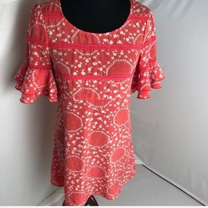 Free People coral & white bell ruffle sleeve dress